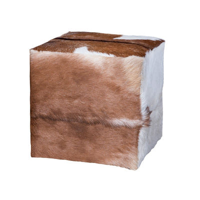 "18"" Goat Hide Ottoman - Mix Home Mercantile"