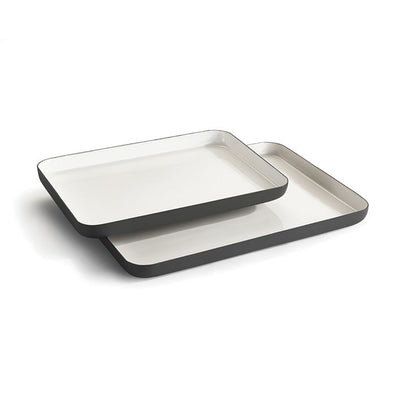 Set of 2 White and Black Trays