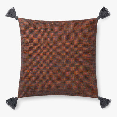 "22"" Rust and Gray Down Tassel Pillow - Mix Home Mercantile"