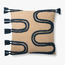 "22"" x 22"" Khaki and Navy Pillow - Mix Home Mercantile"