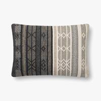 "16"" x 26"" Natural and Black Down Fill Pillow - Mix Home Mercantile"