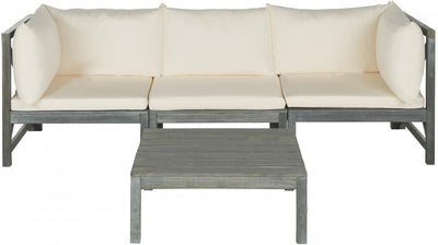 Modular Ash Gray Beige Outdoor Sectional with Table - Mix Home Mercantile