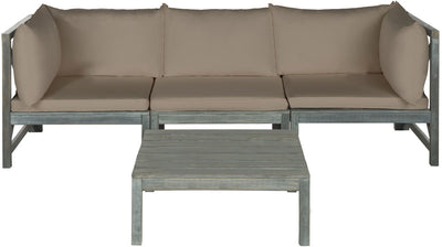 Modular Ash Gray Taupe Outdoor Sectional with Table - Mix Home Mercantile