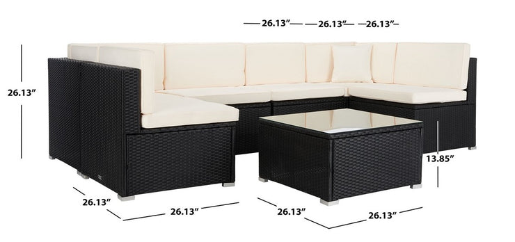 Outdoor Black Beige Woven Sectional Set with Cocktail Table - Mix Home Mercantile