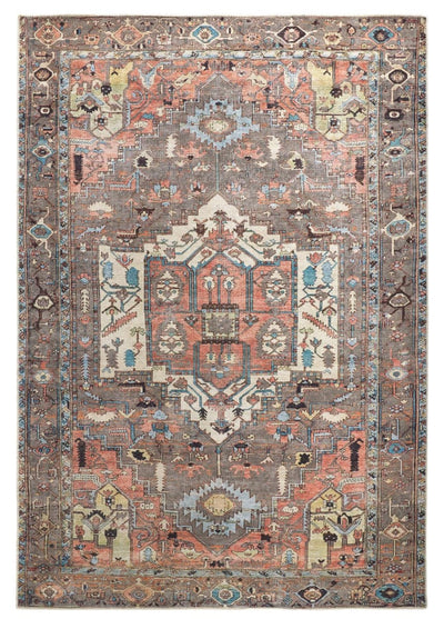 "7'10"" x 9'10"" Gray and Multicolor Rug - Mix Home Mercantile"
