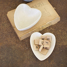 Light Grey Carved Stone Heart Bowl