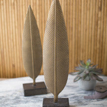 Set of 2 Metal Feather Sculptures - Mix Home Mercantile
