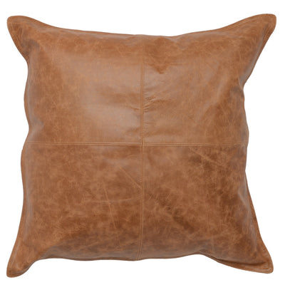 "Chestnut Leather 22"" Pillow - Mix Home Mercantile"