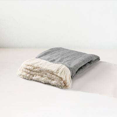 Blue/Ivory Chambray Throw - Mix Home Mercantile