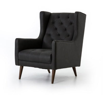 Black Leather Wing Chair - Mix Home Mercantile