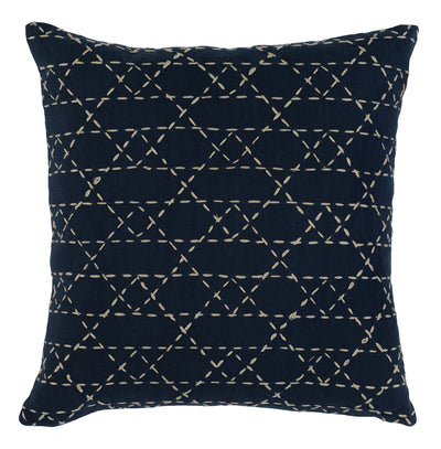 "18"" Embroidered Navy Pillow - Mix Home Mercantile"
