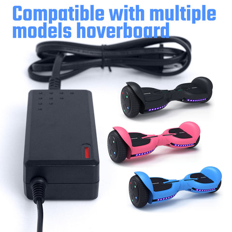 Image of TOMOLOO Hoverboard Charger Cord 42V 1.5A, 3-Prong Inline Connector Power Adapter for 36V Hoverboards Battery