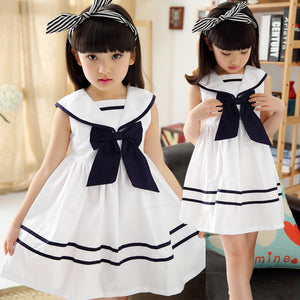 Children Girls Navy School Wind Style Summer Dress Sleeveless Princess  Wind Dress Kids Clothing Bow tie Lovely Clothes 2017
