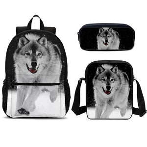 Cool Wolf Print School Bag