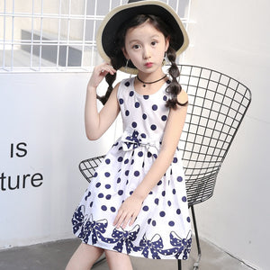 A-Line Polka Dot  Sleeveless Dress