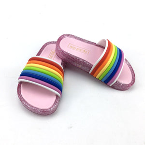 Lovely candy rainbow LED slippers
