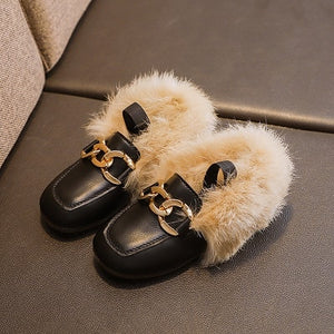 Children Real Rabbit Fur Shoes