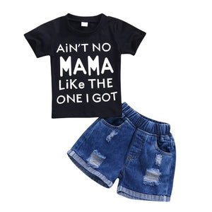 "Boys ""Ain't No MAMA"" Tee Shirt and Demin Short Set"