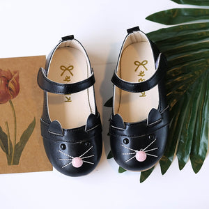 Girls Leather Cartoon Cat Shoes For Female Kids