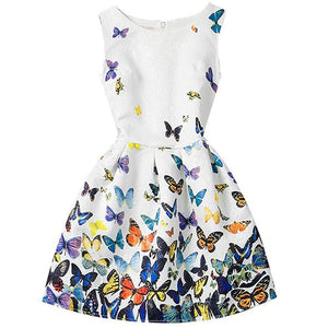 Butterfly Floral Print Long Sleeve Casual Dress