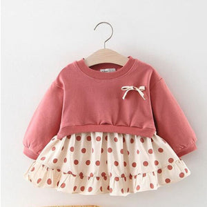 Polka Dot Long Sleeve Dress For Girls Children Costume Baby Girl Clothing Teenager School Daily Wear Kids Casual Clothes