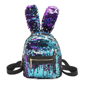Sequins Backpack Cute Rabbit Ears