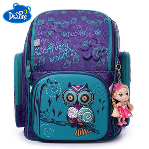 Owl Bear Print School Bag