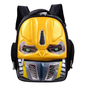 Cartoon Children LED Light Backpacks Robot Transformation Waterproof