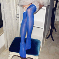 Sexy Super Elastic Ultra-thin High Glossy Oil Shiny 8 Denier Lace Hosiery Thigh High Stockings-Hosiery-Metelam