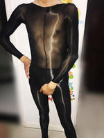 Sexy High Elastic 8D Men's Super Shiny High Glossy Penis Sheath Crotchless Bodystocking Sheer Bodysuit Tights-Bodysuit-Metelam