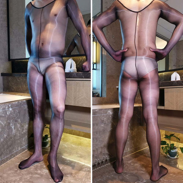 Ultra Thin Shiny Gloss Sheer Bodysuit 1D Full Transparent Bodystocking