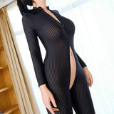 Women Stripe 2 Way Zipper Catsuit Sheer Bodysuit Long Sleeve Jumpsuit Clubwear