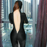 Women's Sexy Sheer Bodysuit Crotch Zipper Shiny Zentai Catsuit Jumpsuit Romper-Jumpsuit-Metelam