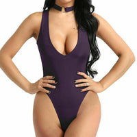 Women Open Crotch Romper Lingerie V-Neck Jumpsuit Bodysuit Thong Leotard Catsuit-Romper-Metelam