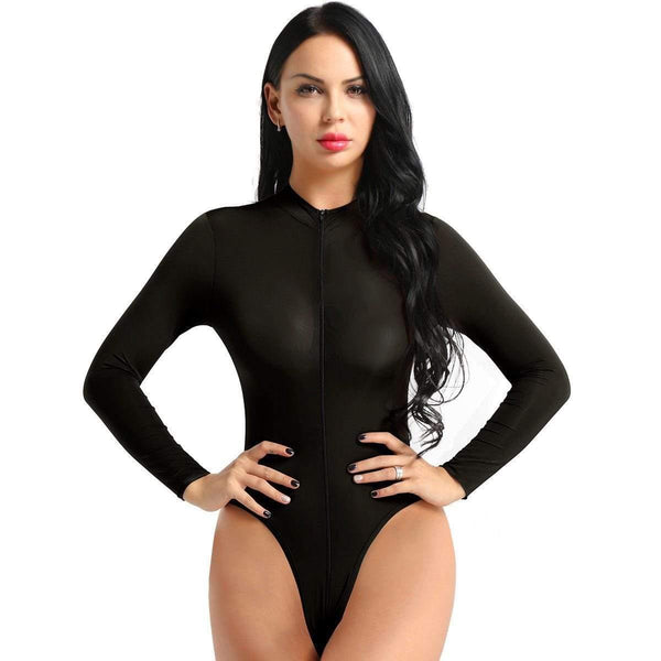 Women's Sheer Lingerie 2 Way Zipper Leotard Long Sleeve Bodysuit Bodycon Jumpsuit-Metelam