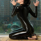 Latex Leather Shiny Glossy Bodysuit Zipper Open Crotch Catsuit Jumpsuit Lingerie-Bodysuit-Metelam