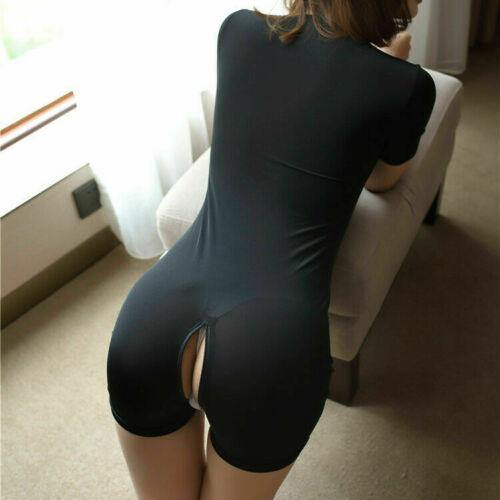Women Sheer Zipper Open Bust & Crotch Bodysuit Leotard Lingerie Catsuit Clubwear