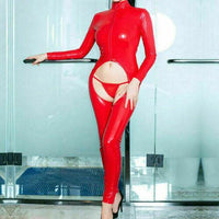 Lady Front Zipper Leather Jumpsuit Wetlook PVC Latex Bodysuit Crotchless Catsuit-Jumpsuit-Metelam