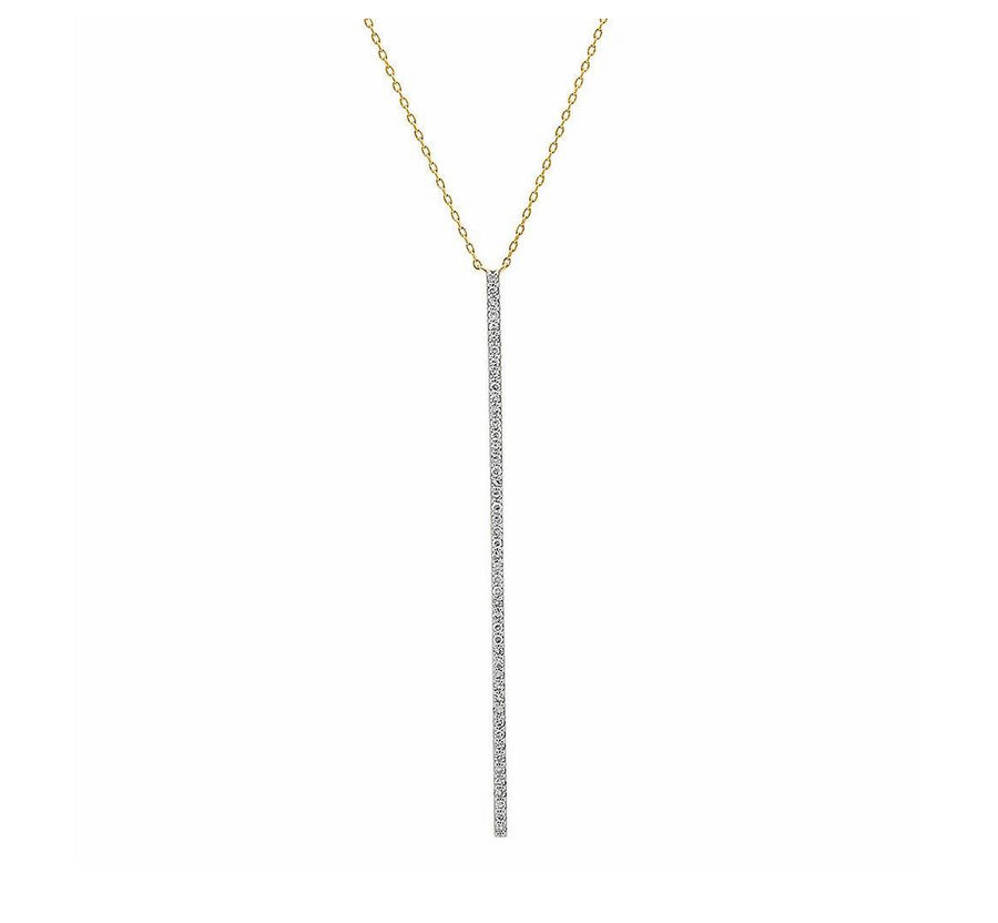 Eriness 14K YG Diamond Bar Necklace