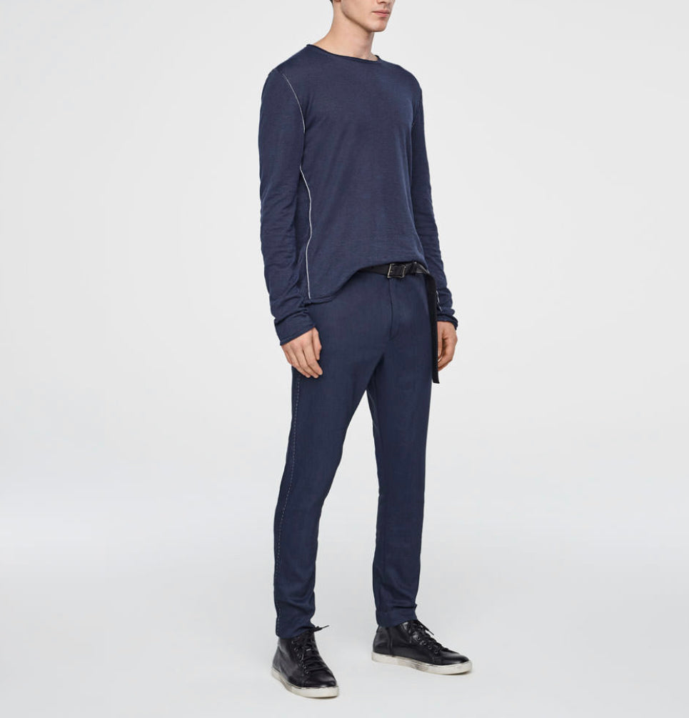 Blue stretch Linen Pants- Streetwear