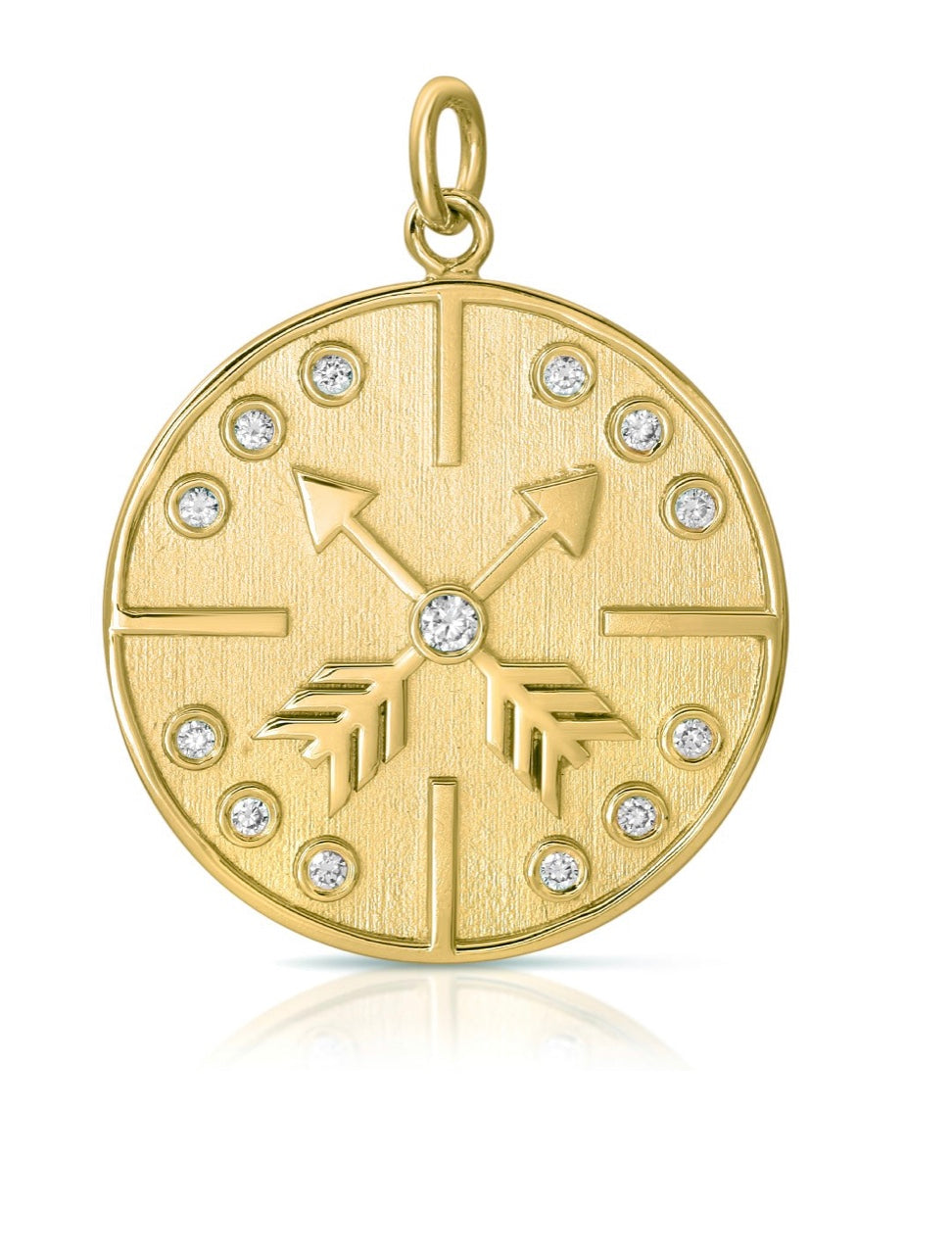 Diamond Draped Compass Coin Necklace 16in.