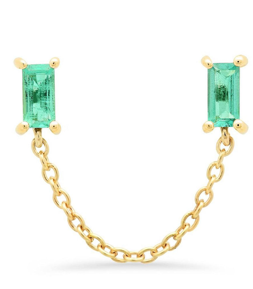 Eriness 14K YG Baguette Chain Studs