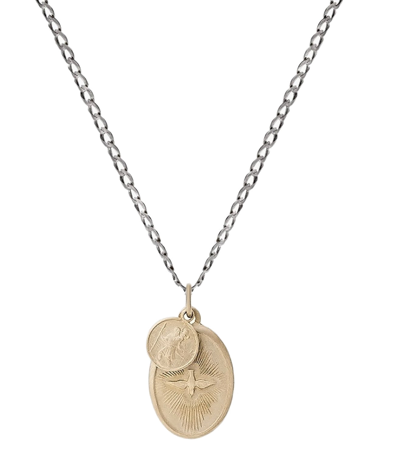 Dove Pendant Necklace Gold on Silver