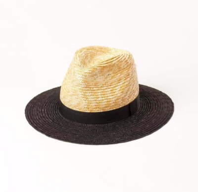 Black and Beige Panama Hat