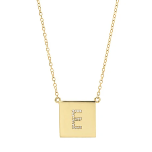 14K YG Scrabble Initial Diamond Necklace