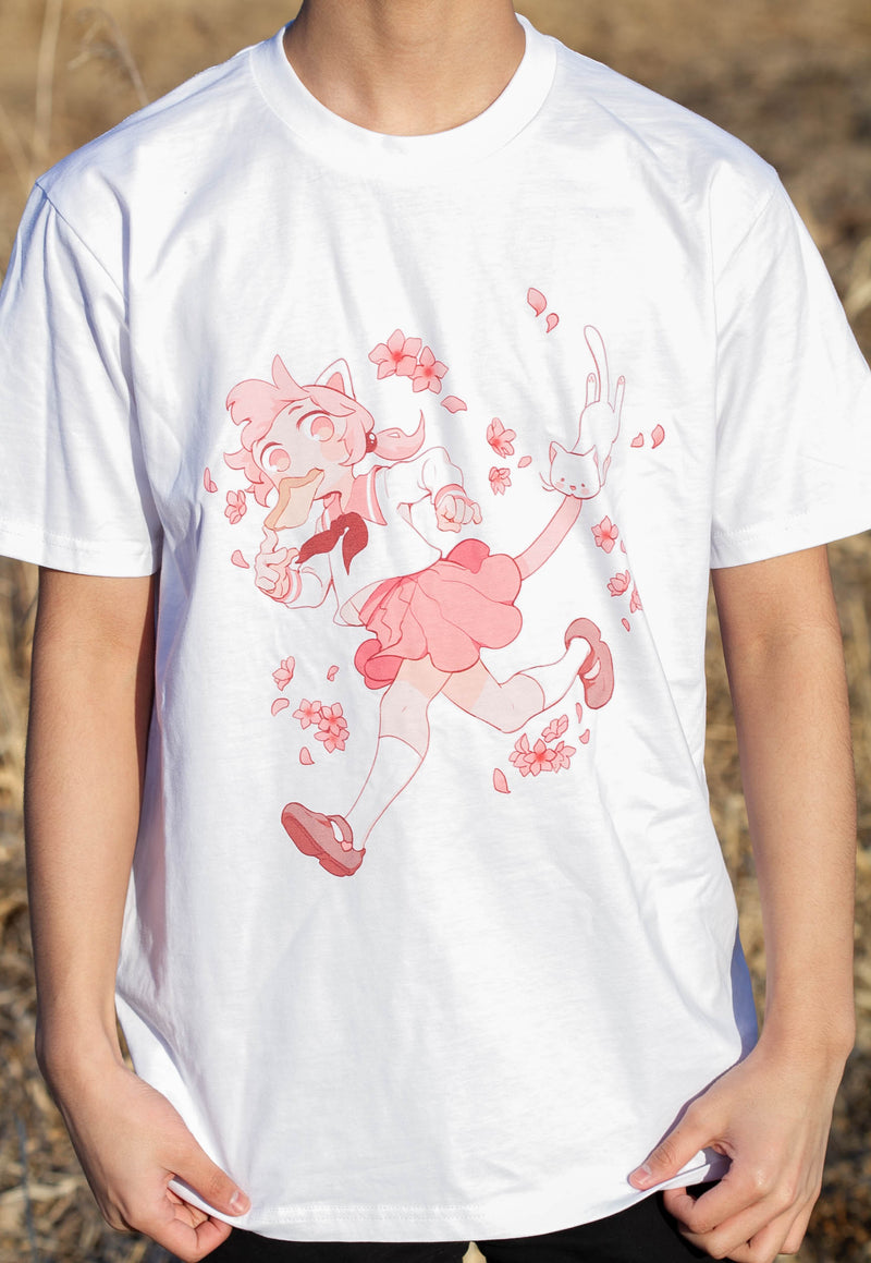Sakura Cat Tee (White)