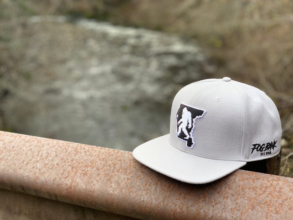 Gray Fog Bank Bigfoot County line snapback hat in Northern California Forest