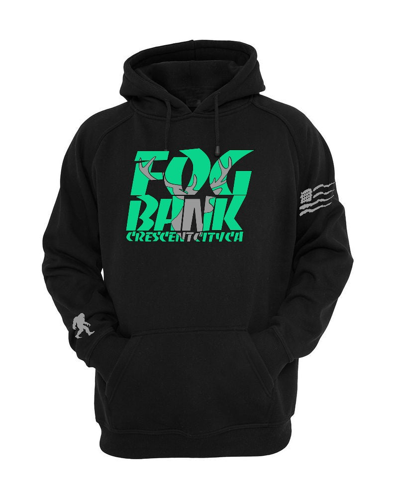 Fog Bank Stag hoodie in Black and mint