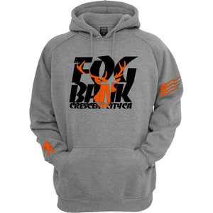 Fog Bank Stag hoodie in Gray and black, and orange.