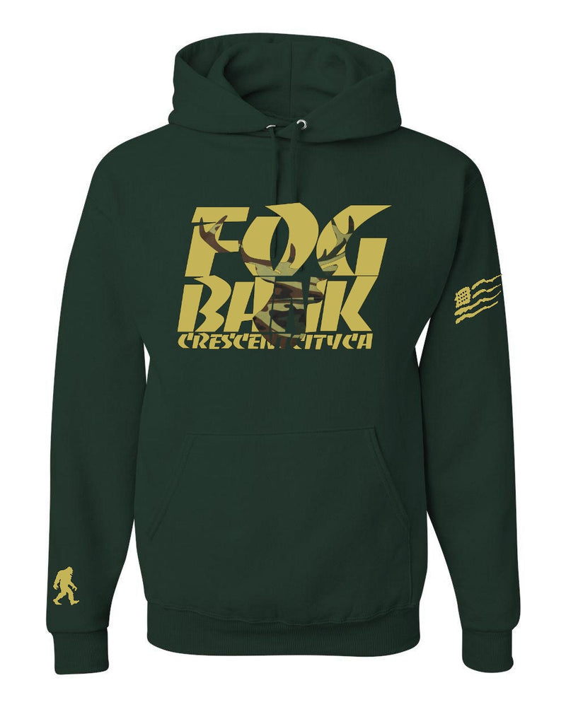 Fog Bank Stag hoodie in Forrest Green and Gold